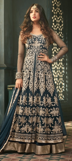908353 Blue  color family Bollywood Salwar Kameez in Net fabric with Machine Embroidery, Stone, Thread, Zari work .