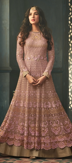 908354 Pink and Majenta  color family Bollywood Salwar Kameez in Net fabric with Machine Embroidery, Sequence, Stone, Thread, Zari work .