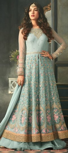 908355 Blue  color family Bollywood Salwar Kameez in Net fabric with Machine Embroidery, Stone, Thread, Zari work .