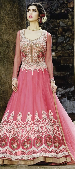 908788 Pink and Majenta  color family Anarkali Suits in Net fabric with Machine Embroidery, Resham, Sequence, Thread work .