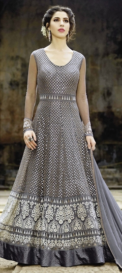 908790 Black and Grey  color family Anarkali Suits in Net fabric with Machine Embroidery, Resham, Thread work .