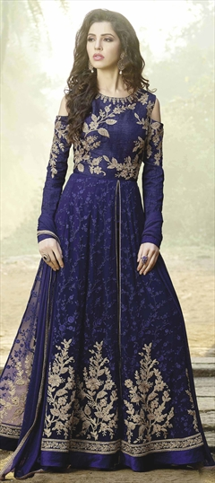 908792 Blue  color family Anarkali Suits in Net fabric with Machine Embroidery, Resham, Thread, Zari work .