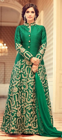 909009 Green  color family Party Wear Salwar Kameez in Taffeta Silk fabric with Machine Embroidery, Thread, Zari work .