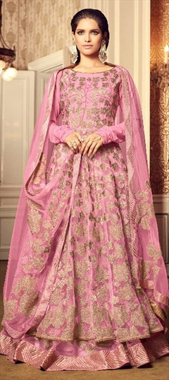 909010 Pink and Majenta  color family Anarkali Suits in Net fabric with Machine Embroidery, Thread, Zari work .
