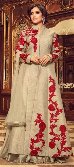 909011 Beige and Brown  color family Anarkali Suits in Taffeta Silk fabric with Machine Embroidery,Resham,Thread work .