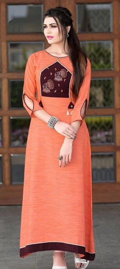 909486 Orange  color family Long Kurtis in Khadi fabric with Machine Embroidery, Thread work .