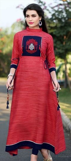 909490 Red and Maroon  color family Long Kurtis in Khadi fabric with Machine Embroidery, Thread work .