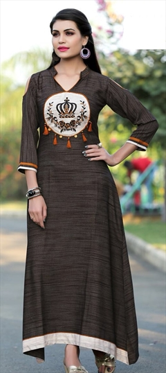 909491 Black and Grey  color family Long Kurtis in Khadi fabric with Machine Embroidery, Thread work .