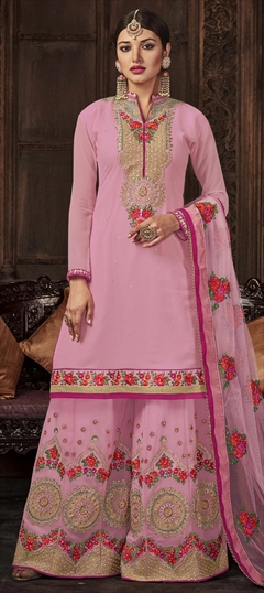 909579 Pink and Majenta  color family Party Wear Salwar Kameez in Georgette fabric with Machine Embroidery, Resham, Stone, Thread, Zari work .