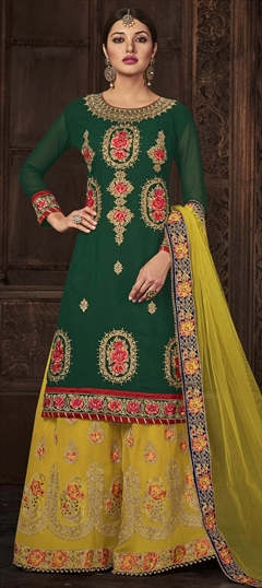 909582 Green  color family Party Wear Salwar Kameez in Georgette fabric with Machine Embroidery,Resham,Stone,Thread,Zari work .