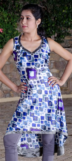 91554, Printed Kurtis, Satin, Printed, Blue, White and Off White Color Family