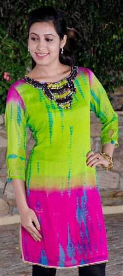 91555, Long Kurtis, Kurti, Georgette, Tye n Dye, Bugle Beads, Pink and Majenta, Green Color Family