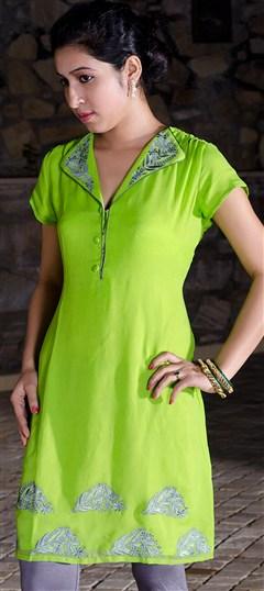 91925, Kurti, Georgette, Machine Embroidery, Resham, Thread, Green Color Family