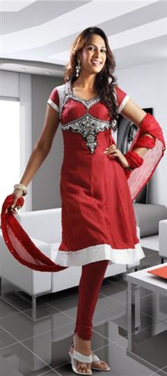 92147 Red and Maroon  color family Party Wear Salwar Kameez in Net fabric with Stone,Swarovski,Zardozi work .