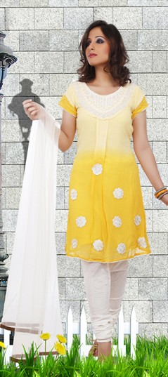 92175 White and Off White,Yellow  color family Party Wear Salwar Kameez in Faux Georgette,Net fabric with Moti work .