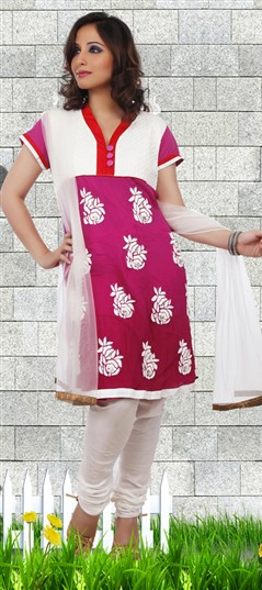92181 Pink and Majenta,White and Off White  color family Party Wear Salwar Kameez in Faux Georgette,Net fabric with Machine Embroidery work .