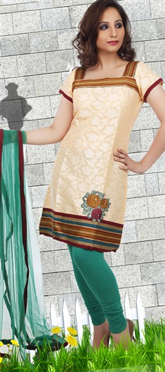 92182 Beige and Brown  color family Cotton Salwar Kameez,Party Wear Salwar Kameez in Cotton,Net fabric with Border work .