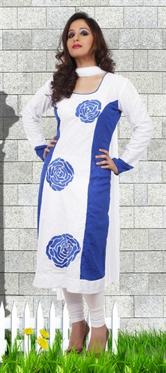 92183 Blue,White and Off White  color family Party Wear Salwar Kameez in Net fabric with Border work .