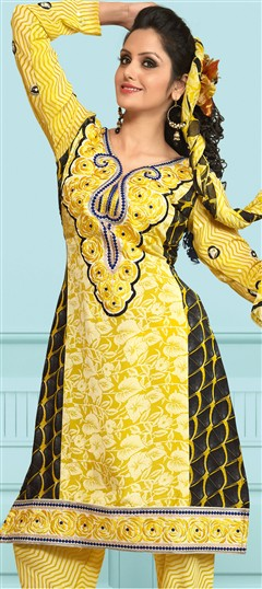 93114, Salwar Kamez, Crepe, Machine Embroidery, Yellow Color Family