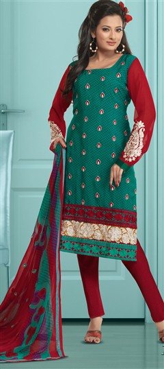 93120, Party Wear Salwar Kameez, Crepe, Machine Embroidery, Resham, Green Color Family