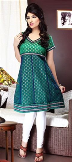 93488 Green  color family Anarkali style Kurtis,Kurti in Jacquard fabric with Lace work .
