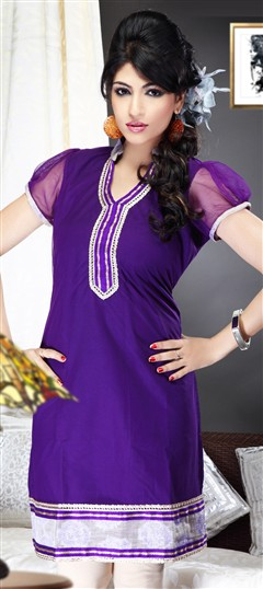 93502, Kurti, Net, Patch, Border, Lace, Purple and Violet Color Family