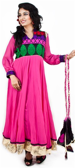 94769 Pink and Majenta  color family Anarkali Suits,Party Wear Salwar Kameez in Banarasi,Georgette fabric with Border work .