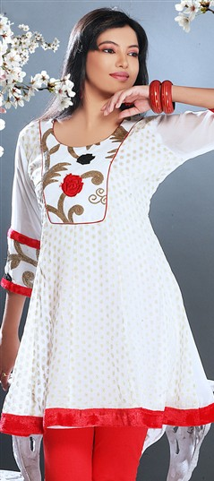 95844, Kurti, Georgette, Patch, White and Off White Color Family
