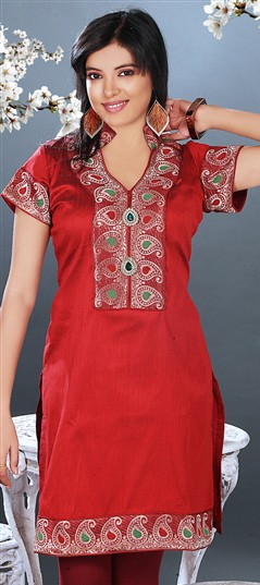 95848, Kurti, Art Dupion Silk, Red and Maroon Color Family