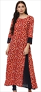 1500848: Red and Maroon color Kurti in Cotton fabric with Printed work