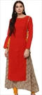1500849: Red and Maroon color Kurti in Cotton fabric with Printed work
