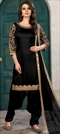 1501866: Black and Grey color Salwar Kameez in Art Silk fabric with Machine Embroidery, Mirror, Stone, Thread, Zari work