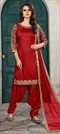 1501869: Red and Maroon color Salwar Kameez in Art Silk fabric with Machine Embroidery, Mirror, Stone, Thread, Zari work