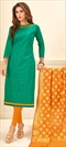 1502630: Green color Salwar Kameez in Cotton fabric with Embroidered, Resham, Thread work