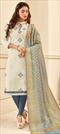 1502631: Beige and Brown color Salwar Kameez in Cotton fabric with Embroidered, Resham, Thread work