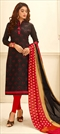 1502633: Black and Grey color Salwar Kameez in Cotton fabric with Embroidered, Resham, Thread work
