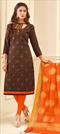 1502634: Beige and Brown color Salwar Kameez in Cotton fabric with Embroidered, Resham, Thread work
