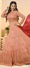 1504598: Bollywood Pink and Majenta color Salwar Kameez in Georgette fabric with Abaya, Anarkali Embroidered, Resham, Swarovski, Thread, Zari work