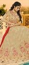 1504600: Bollywood Beige and Brown color Salwar Kameez in Georgette fabric with Abaya, Anarkali Embroidered, Resham, Swarovski, Thread, Zari work