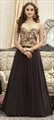 1505582: Party Wear Beige and Brown color Gown in Fancy Fabric fabric with  Lace, Stone work