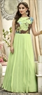 1505587: Party Wear Green color Gown in Fancy Fabric fabric with  Printed work