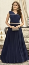1505591: Party Wear Blue color Gown in Fancy Fabric fabric with  Pleats, Thread work