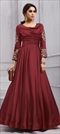 1505826: Party Wear Red and Maroon color Gown in Art Silk fabric with  Embroidered, Stone, Thread, Zari work