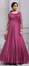 1505828: Party Wear Pink and Majenta color Gown in Art Silk fabric with  Embroidered, Stone, Thread, Zari work