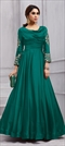 1505829: Party Wear Green color Gown in Art Silk fabric with  Embroidered, Stone, Thread, Zari work