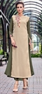 1510212: Casual Beige and Brown, Green color Kurti in Georgette fabric with Embroidered, Thread work