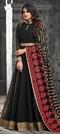 1510788: Bollywood Black and Grey color Salwar Kameez in Georgette fabric with Abaya, Anarkali Embroidered, Resham, Thread, Zari work