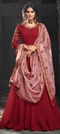1510790: Bollywood Red and Maroon color Salwar Kameez in Georgette fabric with Abaya, Anarkali Embroidered, Resham, Thread, Zari work