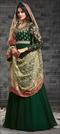 1510795: Bollywood Green color Salwar Kameez in Georgette fabric with Abaya, Anarkali Embroidered, Thread, Zari work