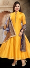 1511627: Wedding Yellow color Gown in Chanderi Silk fabric with Stone work